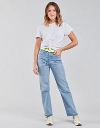 Oblačila Ženske Jeans straight Levi's RIBCAGE STRAIGHT ANKLE Modra