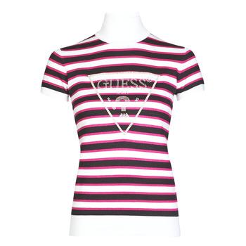 Oblačila Ženske Majice s kratkimi rokavi Guess GERALDE TURTLE NECK Črna / Bela