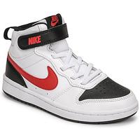 Čevlji  Dečki Nizke superge Nike NIKE COURT BOROUGH MID 2 Bela / Rdeča / Črna