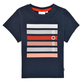 Oblačila Dečki Majice s kratkimi rokavi BOSS ENOLITO Modra