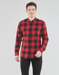 Oblačila Moški Srajce z dolgimi rokavi Jack & Jones JJEGINGHAM Rdeča / Črna