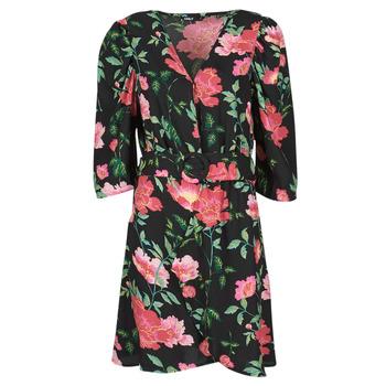Oblačila Ženske Kratke obleke Only ONLEVE 3/4 SLEEVE SHORT DRESS WVN Črna / Rožnata