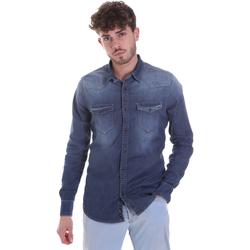 Oblačila Moški Srajce z dolgimi rokavi Gaudi 021GU46001 Modra