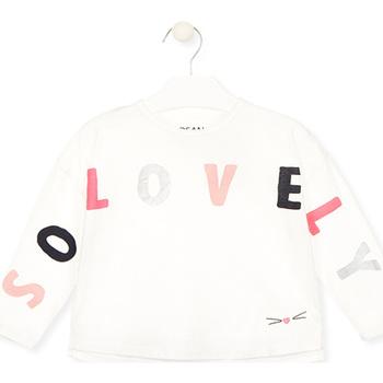 Oblačila Deklice Majice z dolgimi rokavi Losan 026-1012AL Biely