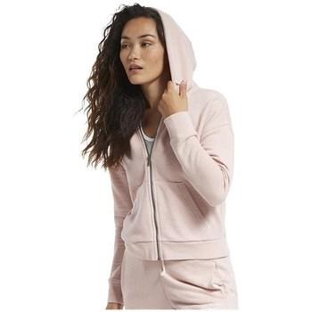Oblačila Ženske Puloverji Reebok Sport TE Textured Logo Fullzip Roza