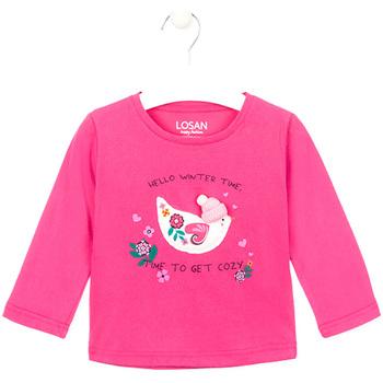Oblačila Deklice Majice z dolgimi rokavi Losan 026-1008AL Roza