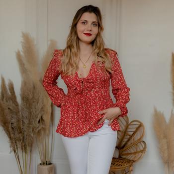 Oblačila Ženske Topi & Bluze Céleste ROSSIGNOL Rdeča / Večbarvna