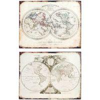 Dom Slike, platna Signes Grimalt Stenska Plošča Zemljevida Set 2 U Beige