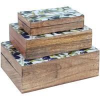 Dom Kovčki in škatle za shranjevanje Signes Grimalt Sept. 3 Škatle Olive Marrón