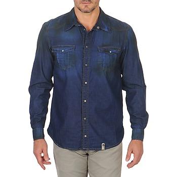 Oblačila Moški Srajce z dolgimi rokavi Freeman T.Porter CORWEND DENIM Modra
