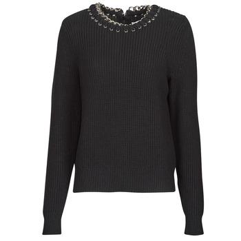 Oblačila Ženske Puloverji MICHAEL Michael Kors CHAIN NK SWEATER Črna