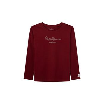 Oblačila Deklice Majice z dolgimi rokavi Pepe jeans NURIA LS Rdeča