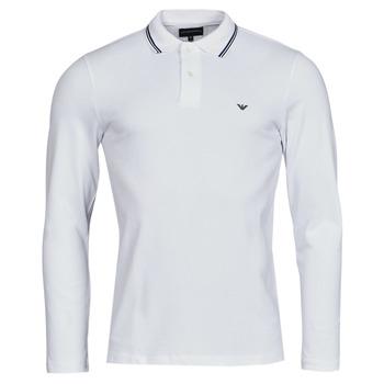 Oblačila Moški Polo majice dolgi rokavi Emporio Armani 8N1FB5 Bela