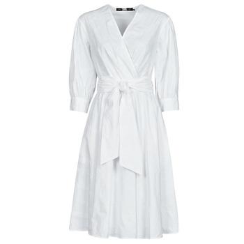Oblačila Ženske Kratke obleke Karl Lagerfeld LOGO EMROIDERED SHIRT DRESS Bela