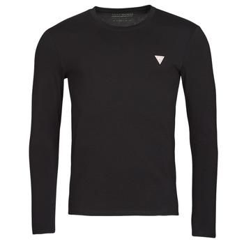 Oblačila Moški Majice z dolgimi rokavi Guess CN LS CORE TEE Črna