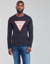 Oblačila Moški Majice z dolgimi rokavi Guess CN LS ORIGINAL LOGO TEE Modra