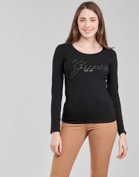 Oblačila Ženske Majice z dolgimi rokavi Guess LS CN RAISA TEE Črna
