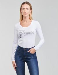 Oblačila Ženske Majice z dolgimi rokavi Guess LS CN RAISA TEE Bela