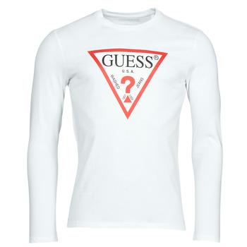Oblačila Moški Majice z dolgimi rokavi Guess CN LS ORIGINAL LOGO TEE Bela