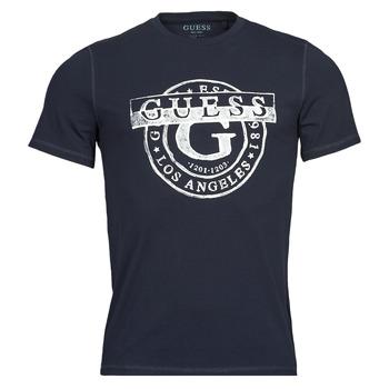 Oblačila Moški Majice s kratkimi rokavi Guess DOUBLE G CN SS TEE Modra