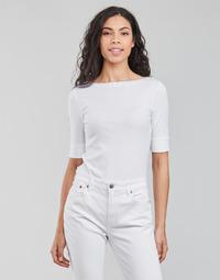 Oblačila Ženske Majice z dolgimi rokavi Lauren Ralph Lauren JUDY-ELBOW SLEEVE-KNIT Bela