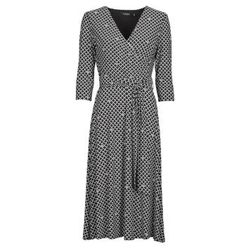 Oblačila Ženske Dolge obleke Lauren Ralph Lauren CARLYNA-3/4 SLEEVE-DAY DRESS Črna