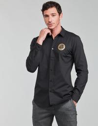 Oblačila Moški Srajce z dolgimi rokavi Versace Jeans Couture SLIM PRINT V EMBLEM GOLD Črna / Pozlačena
