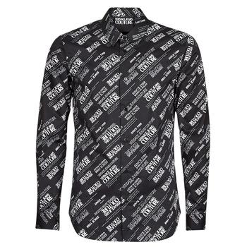 Oblačila Moški Srajce z dolgimi rokavi Versace Jeans Couture SLIM PRINT WARRANTY Črna / Bela