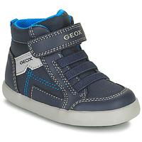 Čevlji  Dečki Visoke superge Geox GISLI Modra