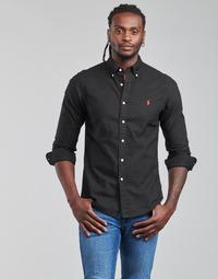 Oblačila Moški Srajce z dolgimi rokavi Polo Ralph Lauren CAMISETA Črna