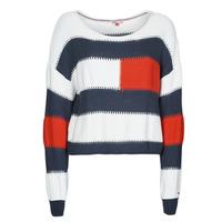 Oblačila Ženske Puloverji Tommy Jeans TJW  RWB STRIPE SWEATER Modra / Bela / Rdeča
