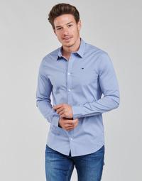 Oblačila Moški Srajce z dolgimi rokavi Tommy Jeans TJM ORIGINAL STRETCH SHIRT Modra