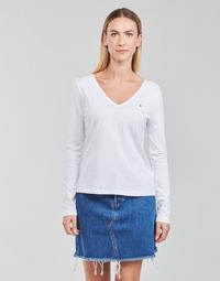 Oblačila Ženske Majice z dolgimi rokavi Tommy Hilfiger REGULAR CLASSIC V-NK TOP LS Bela