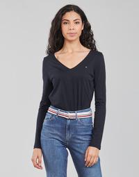 Oblačila Ženske Majice z dolgimi rokavi Tommy Hilfiger REGULAR CLASSIC V-NK TOP LS Modra