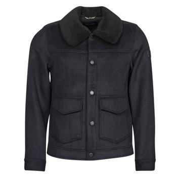 Oblačila Moški Plašči Scotch & Soda SHERPA-TRIMMED WOOL Modra