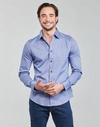 Oblačila Moški Srajce z dolgimi rokavi Scotch & Soda CLASSIC SLIM FIT KNITTED Modra