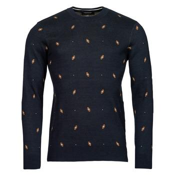 Oblačila Moški Puloverji Scotch & Soda JACQUARD CREWNECK PULLOVER Modra