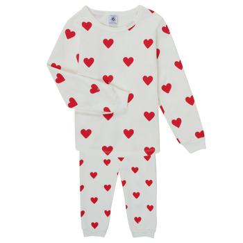Oblačila Deklice Pižame & Spalne srajce Petit Bateau CASSANDRE Bela / Rdeča