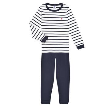 Oblačila Dečki Pižame & Spalne srajce Petit Bateau TECHI Bela / Modra