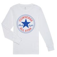 Oblačila Dečki Majice z dolgimi rokavi Converse CHUCK PATCH LONG SLEEVE TEE Bela