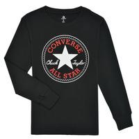 Oblačila Dečki Majice z dolgimi rokavi Converse CHUCK PATCH LONG SLEEVE TEE Črna