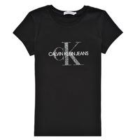 Oblačila Deklice Majice s kratkimi rokavi Calvin Klein Jeans VOYAT Črna