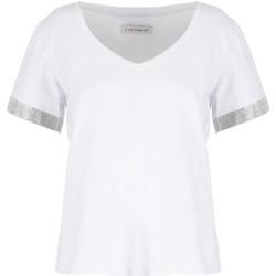 Oblačila Ženske Majice s kratkimi rokavi Café Noir JT6490 Biely