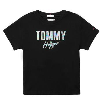 Oblačila Deklice Majice s kratkimi rokavi Tommy Hilfiger SAMIA Črna