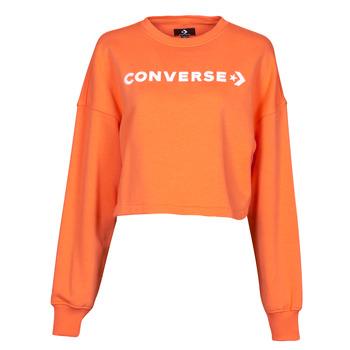 Oblačila Ženske Puloverji Converse EMBROIDERED WORDMARK CREW Oranžna