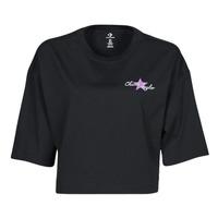 Oblačila Ženske Majice s kratkimi rokavi Converse CHUCK INSPIRED HYBRID FLOWER OVERSIZED CROPPED TEE Črna