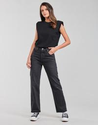 Oblačila Ženske Jeans straight Levi's RIBCAGE STRAIGHT ANKLE Siva