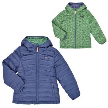 Oblačila Deklice Puhovke Patagonia REVERSIBLE DOWN SWEATER HOODY Modra