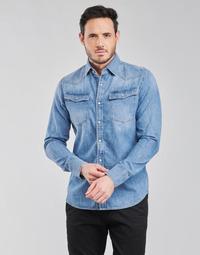Oblačila Moški Srajce z dolgimi rokavi G-Star Raw 3301 SLIM SHIRT LS Modra
