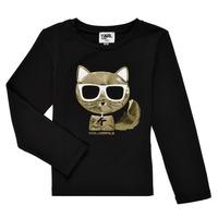 Oblačila Deklice Majice z dolgimi rokavi Karl Lagerfeld AMETHYSTE Črna